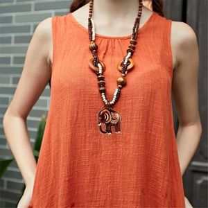 Wooden bohemian necklace elephant